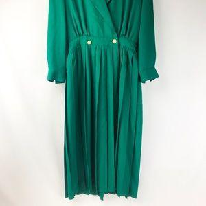 Talbots petite vintage green long dress